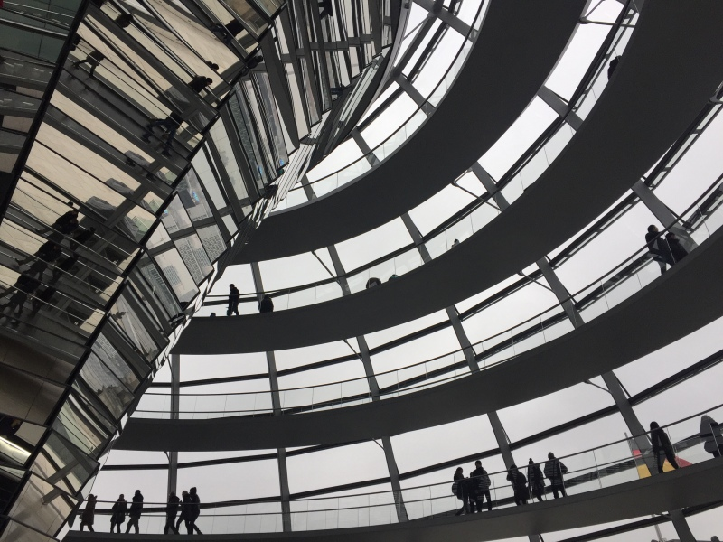 The view from inside the dome of Berlin's Reichstag building.